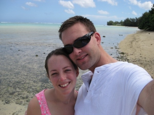 Hubby and I while in Rarotonga on our honeymoon...completely unaware of the havoc being reeked at our new home!