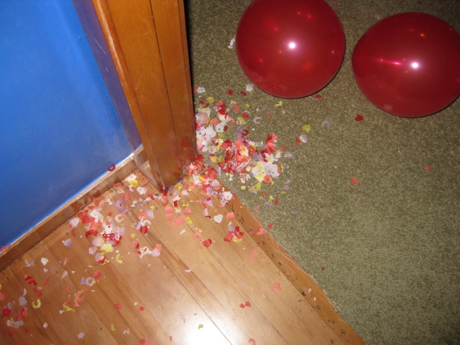 When we arrived home from our honeymoon, our house had confetti all over…