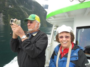 My beautiful grandma and my Great uncle grandpa when we were exploring Milford Sounds on their last trip to NZ.