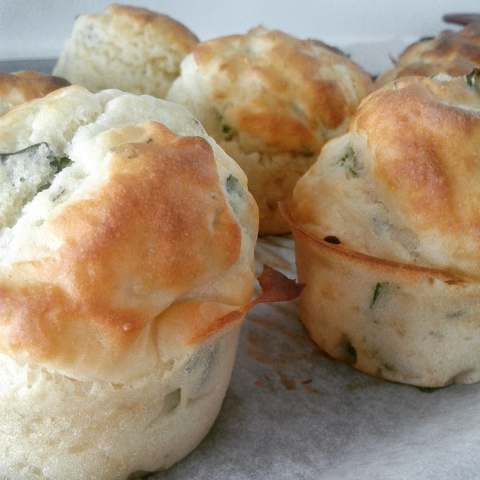 Delicious gluten free Basil, Spinach, and Feta scone/muffin concoction
